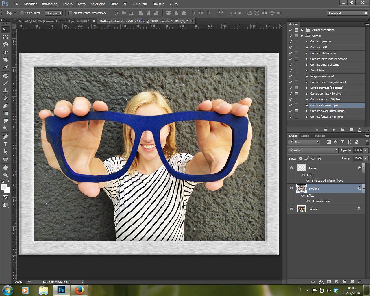 Azione Cornice Alluminio Opaco Photoshop CC 2014