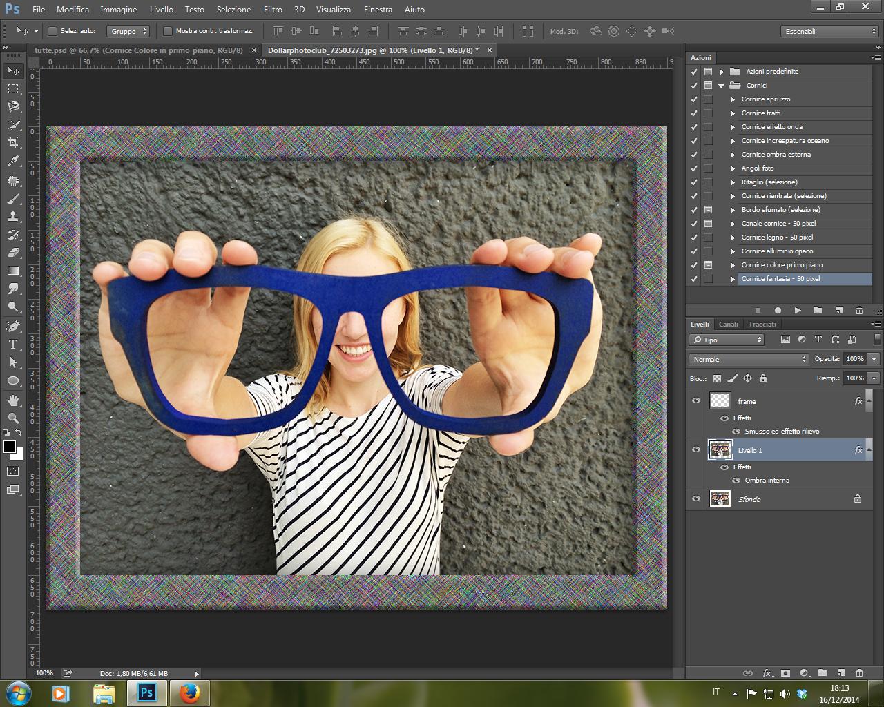 Azione Cornice Fantasia 50 px Photoshop CC 2014