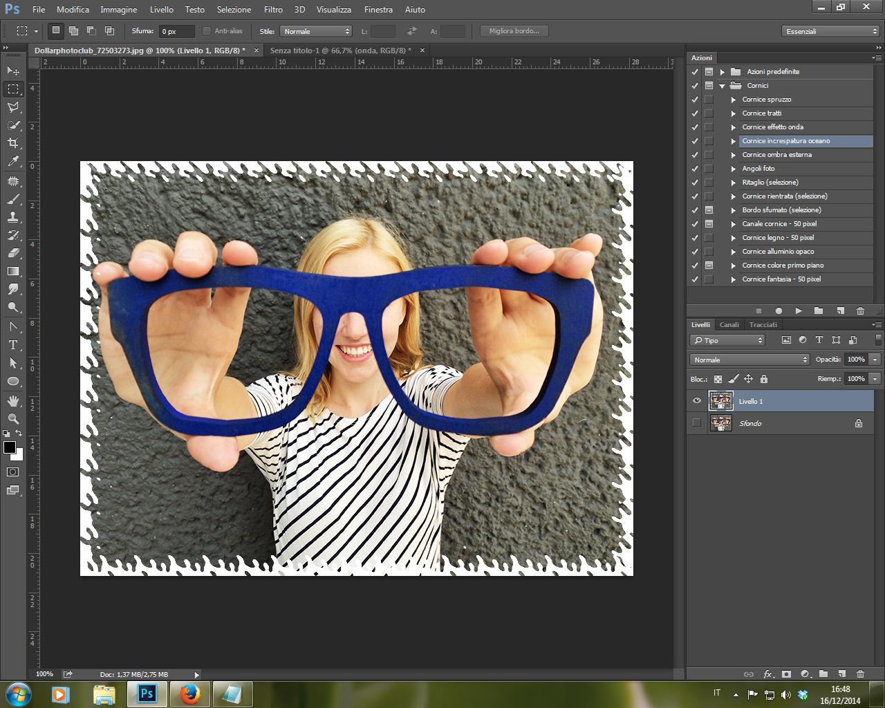 Azione Cornice Increspatura Oceano Photoshop CC