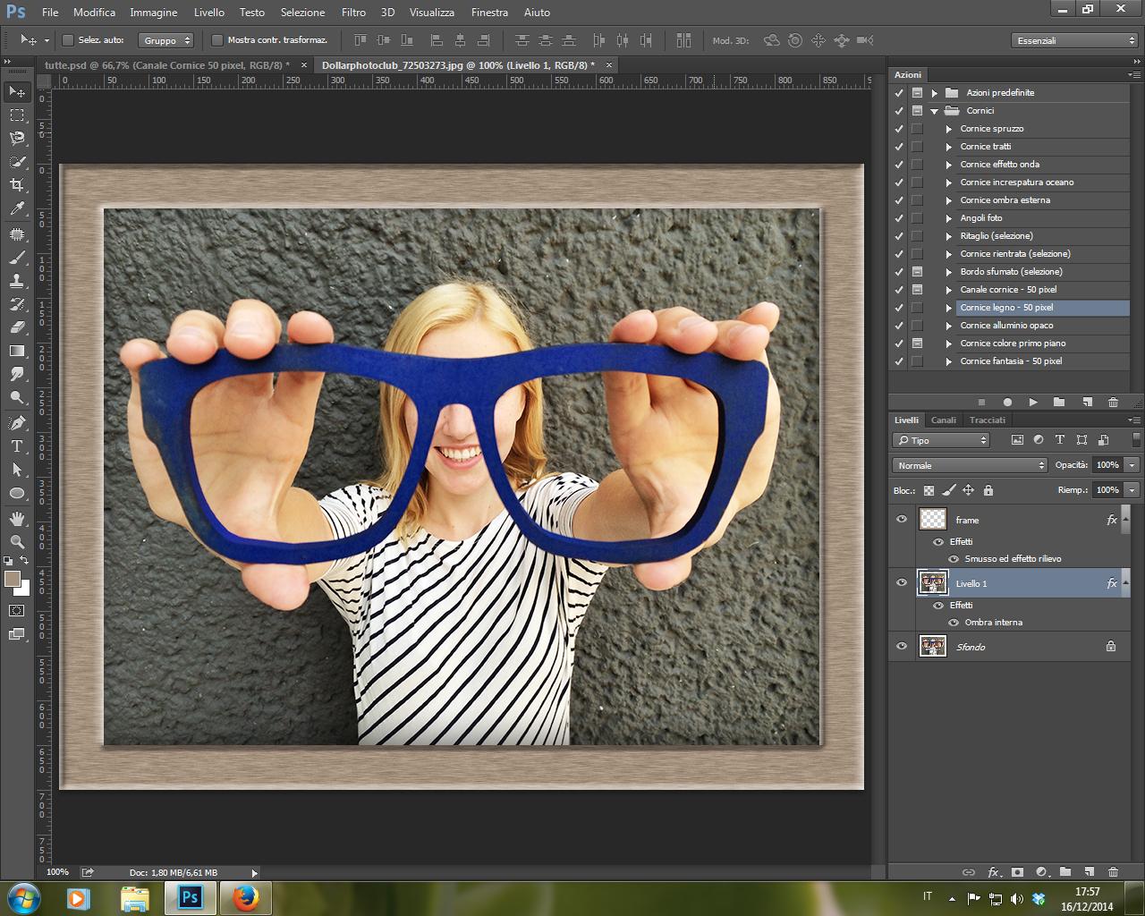 Azione Cornice Legno 50 pixel Photoshop CC 2014