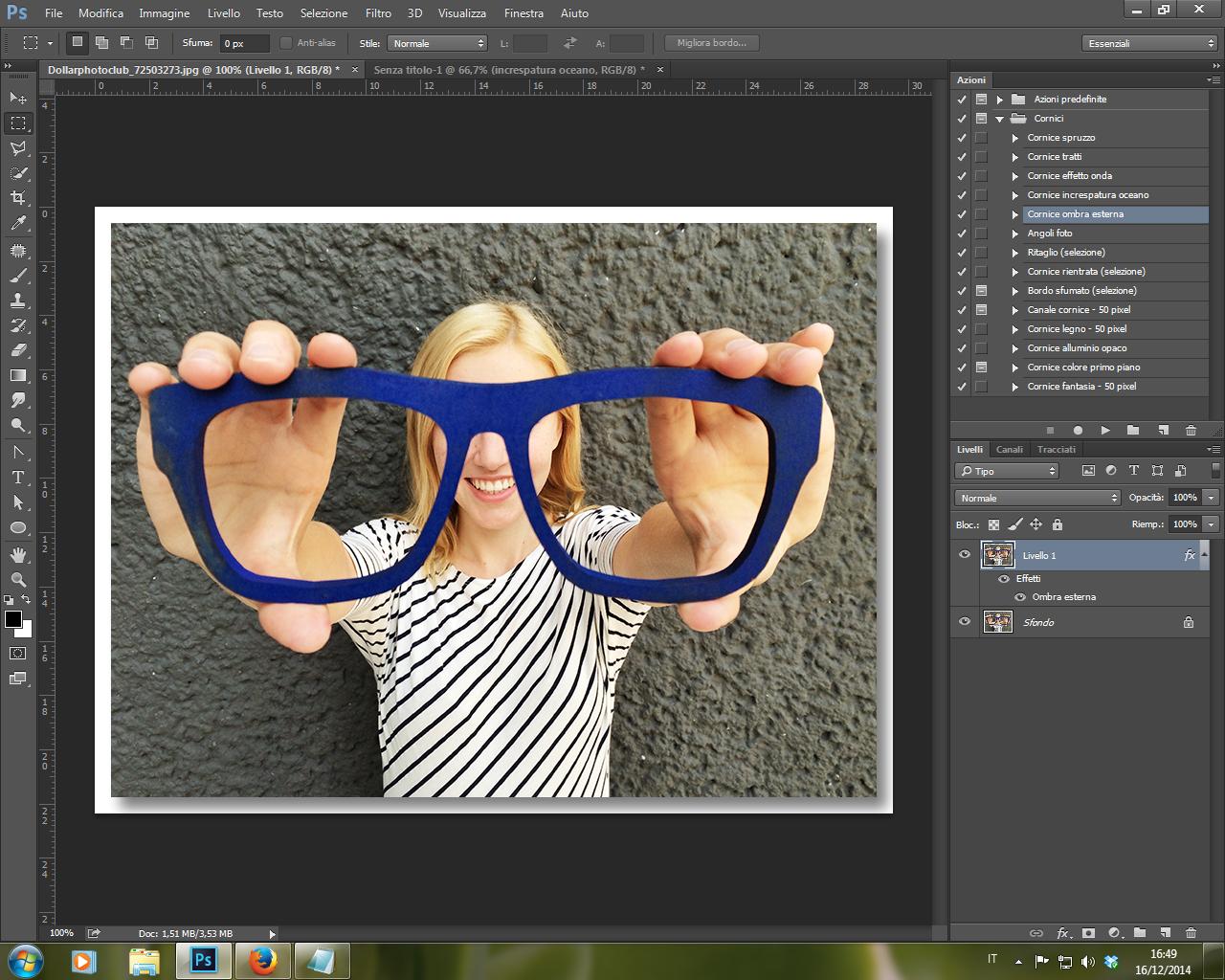 Azione Cornice Ombra Esterna Photoshop CC 2014