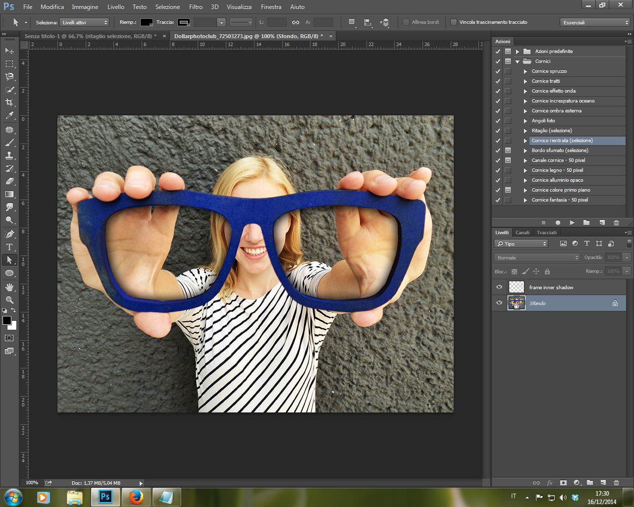 Azione Cornice Rientrata Selezione Photoshop CC 2014