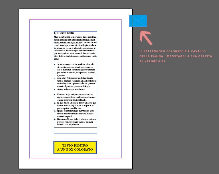 InDesign CC - tracciare i testi con la trasparenza