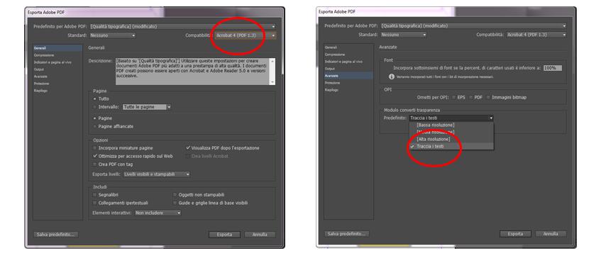 InDesign CC - esportare PDF con testi tracciati