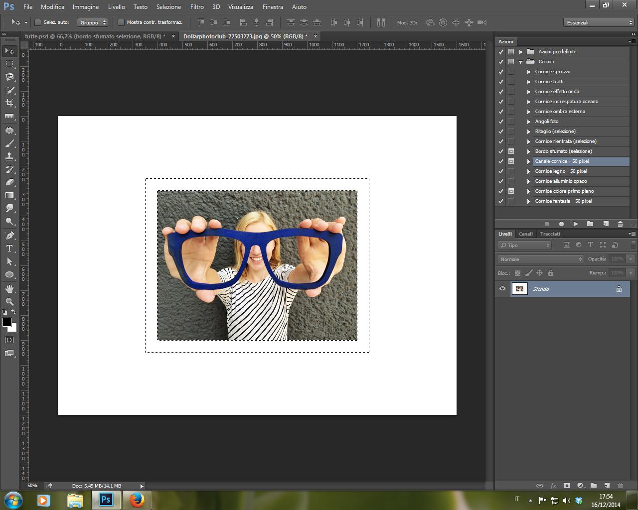 Azione Canale Cornice 50pixel Photoshop CC 2014