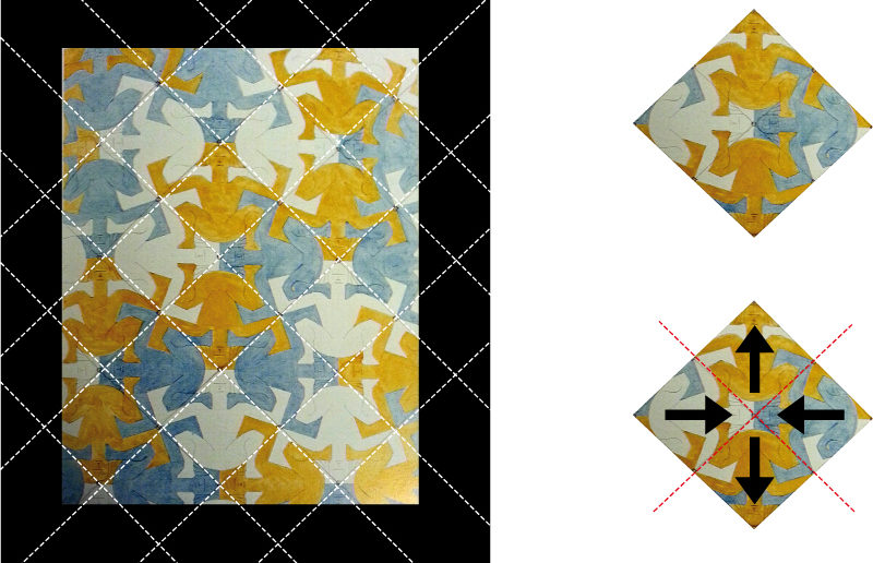 fig. 2 - griglia diagonale a 45° e analisi dell'orientamento del soggetto