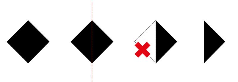 fig. 3 - dal quadrato al triangolo rettangolo isoscele