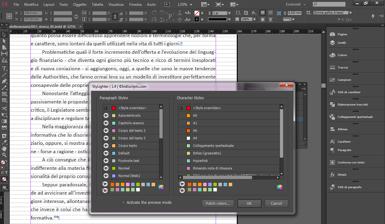 StyLighter 1.4 InDesign stili di carattere e paragrafo