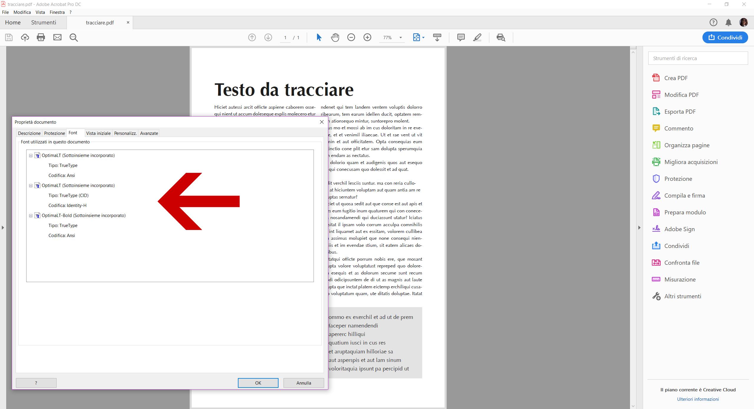 Il pannello Proprietà > Font prima della conversione dei testi in tracciati su Acrobat DC