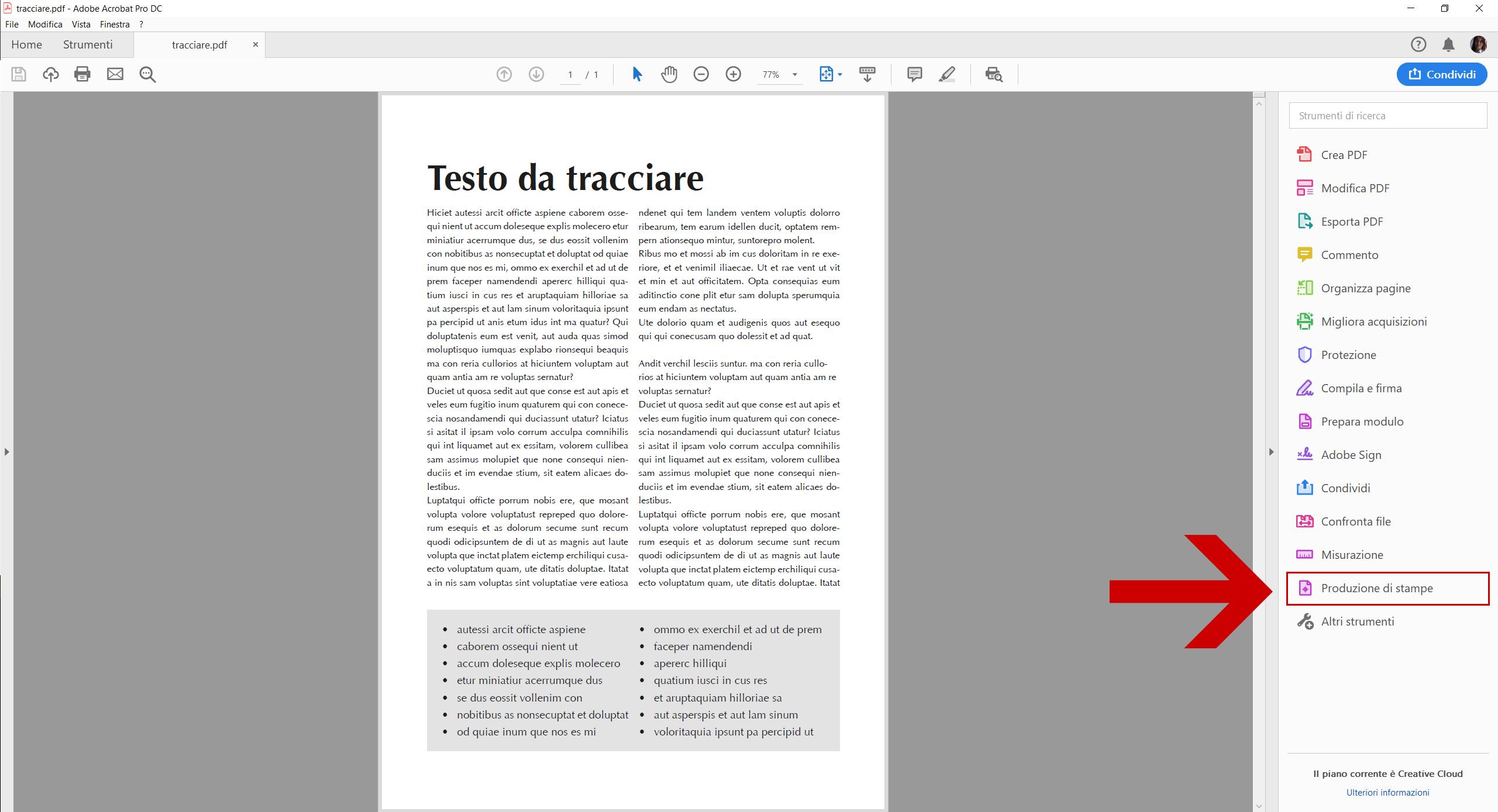 Convertire testi in tracciati con Acrobat DC - Dangeloweb - strumento Produzione Stampe