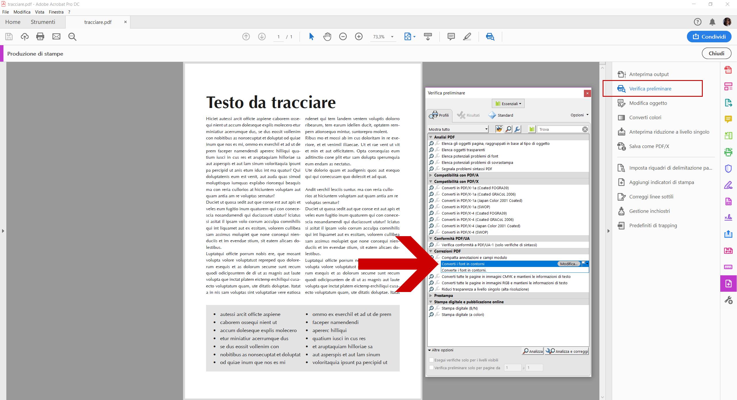 Convertire testi in tracciati con Acrobat DC - Dangeloweb - Lo strumento Verifica preliminare